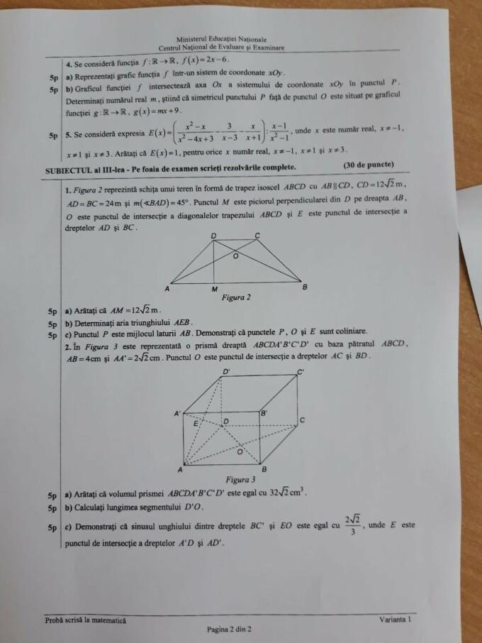 Evaluare Națională 2019 subiecte matematică