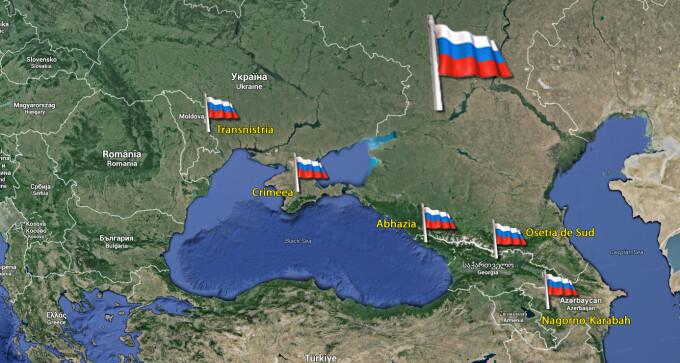 """Tarile unde Putin si-a pus piciorul in usa. """"Conflictele inghetate"""" ar  putea aduce Rusia la doar 500 km de Bucuresti - Stirileprotv.ro"""