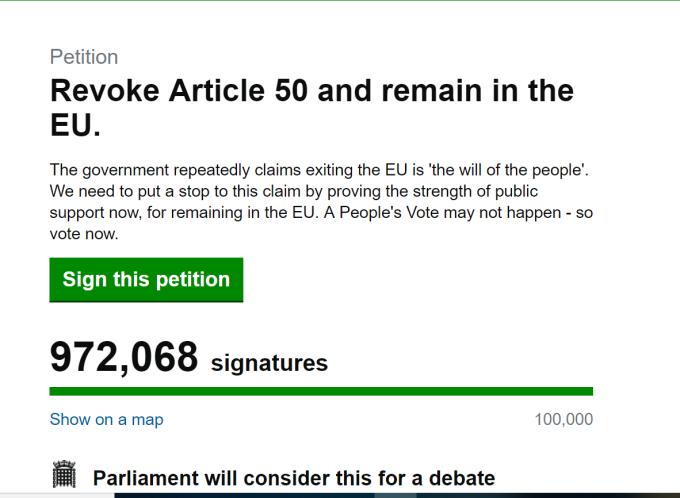 Petitie impotriva iesirii Marii Britanii din UE