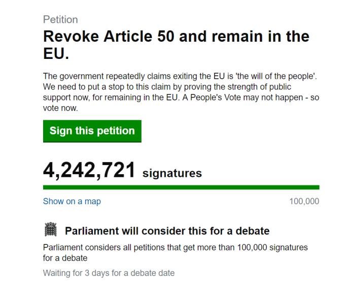 Petitie impotriva Brexitului