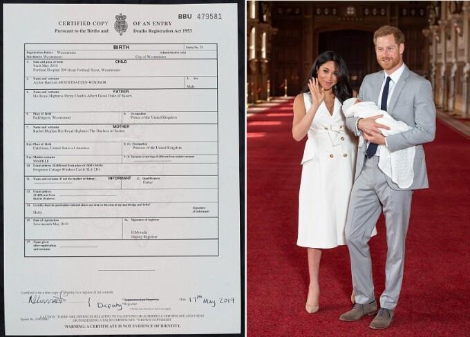Certificatul de naștere al bebelușului regal - Archie