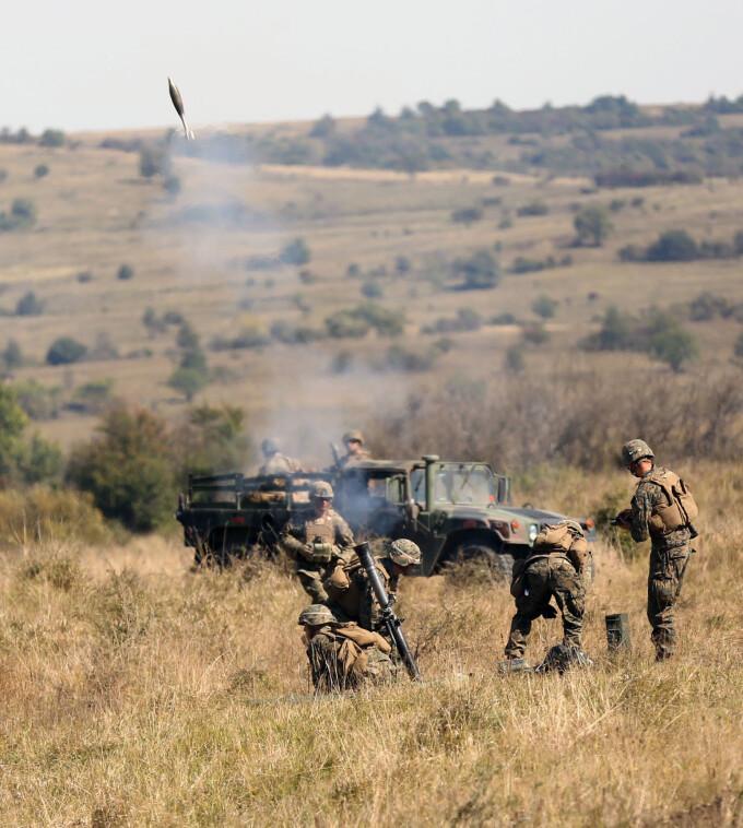 """Militarii Armatei Romane s-au antrenat in ultimele zile impreuna cu vestitii """"Marines"""" pentru a respinge un potential atac."""