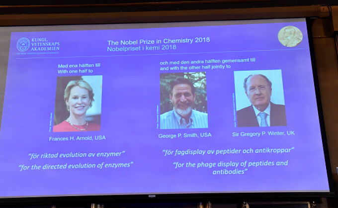 nobel, chimie, 2018, Frances H. Arnold, George P. Smith, Gregory P. Winter