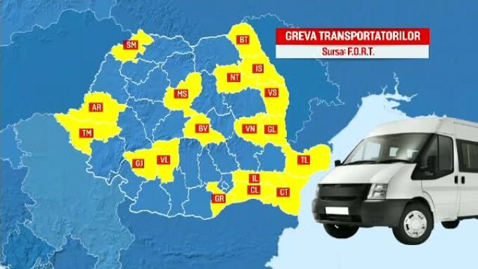 harta greva transportatori