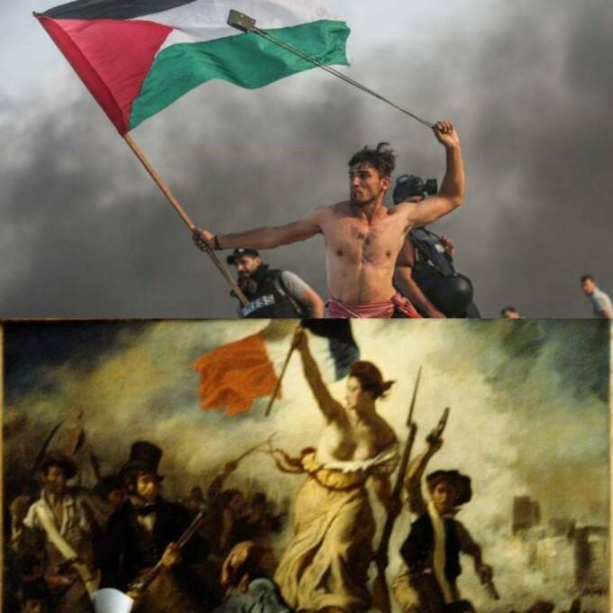 Un protestatar palestinian, surprins într-o ipostază care aminteşte de o pictură din 1830
