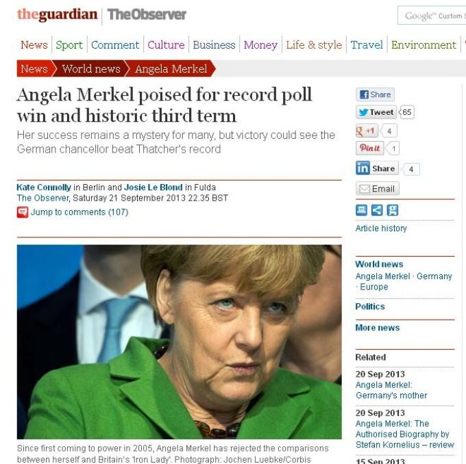 angela merkel record the guardian