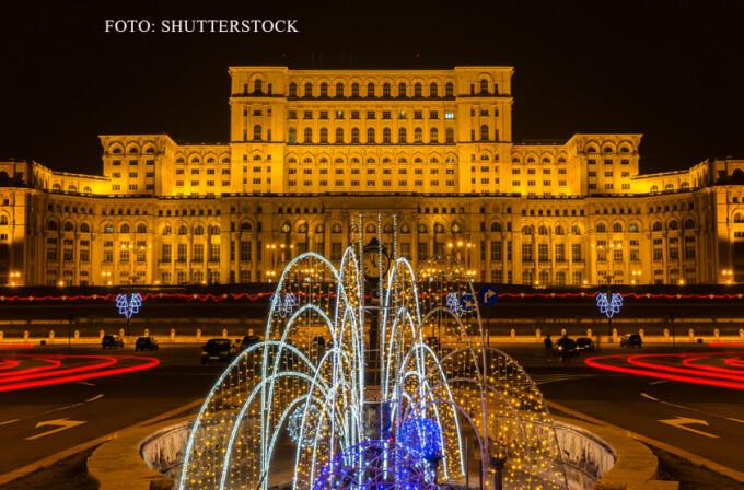 Bulevardul Unirii si Palatul Parlamentului noaptea