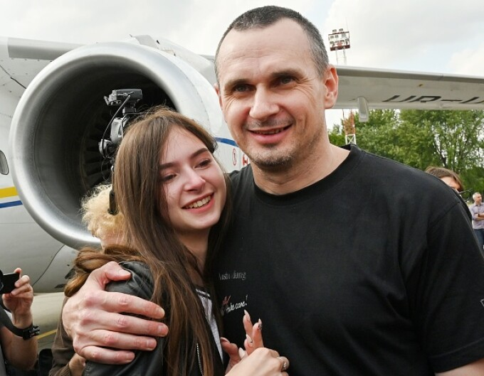 Oleg Sentsov cu fiica lui Alina