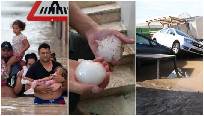 Furtuni electrice și grindină cât pumnul în Spania