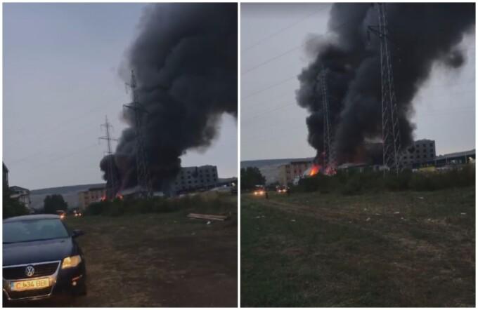 Incendiu puternic la un depozit din Cluj