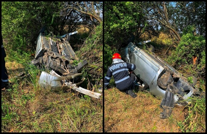 O tânără de 23 de ani s-a răsturnat cu mașina pe A1. Victima, găsită la 15 m de autoturism