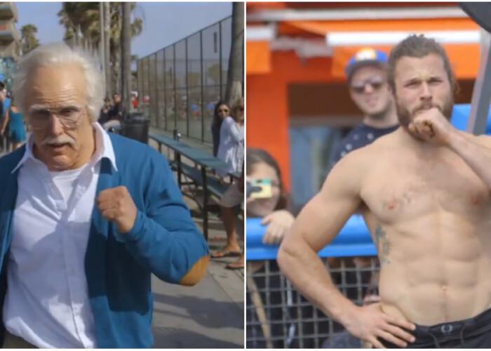 Un musculos a vrut sa-i dea rusine unui bunic care s-a dus la MuscleBeach, dar s-a facut de ras :) Farsa geniala