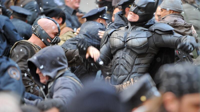 Secventa din timpul filmarilor la Batman: The Dark Knight Rises