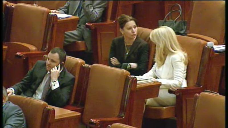 Imaginea zilei: Placinta a plans in fata Elenei Udrea in plen. Victor Ponta: