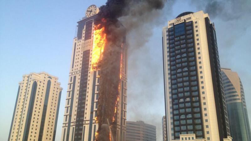 incendiu cladire Cecenia