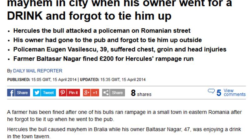 Taurul Hercule, in Daily Mail