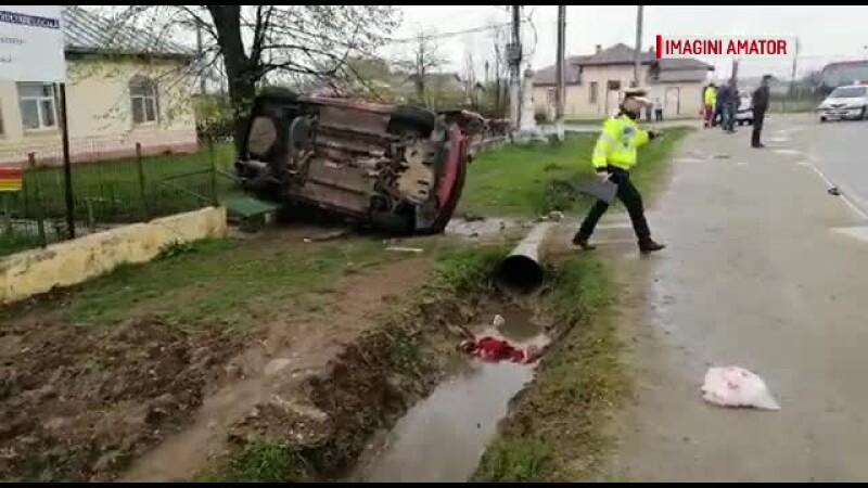 Accident grav provocat de o șoferiță începătoare. O femeie este în stare critică