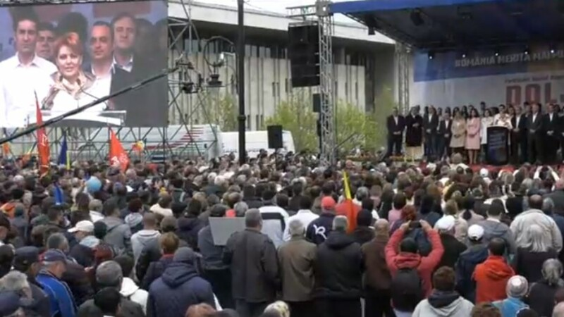 Incident la mitingul PSD din Craiova. Jandarmii au ridicat un bărbat care avea un cuţit