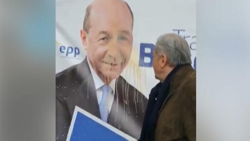 Reacția lui Băsescu după ce Ilie Năstase a aruncat cafea pe un cort electoral al PMP