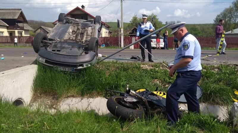 Impact devastator între o motocicletă și o mașină, în Argeș. Un polițist de 32 ani a murit