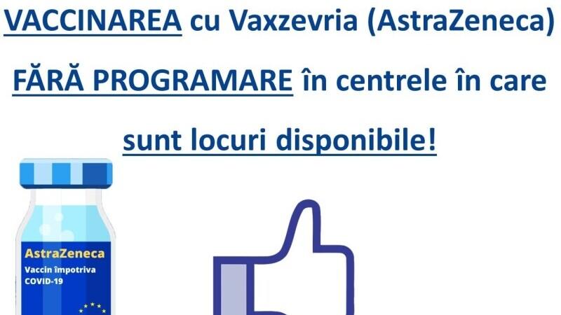 Vaccinarea cu AstraZeneca, lăsată la liber de autorități. Oricine se poate prezenta la centru, fără programare, cu o condiție