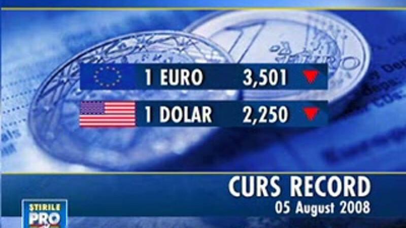 Euro a coborât la 3,50 lei, dolarul la 2,25 lei