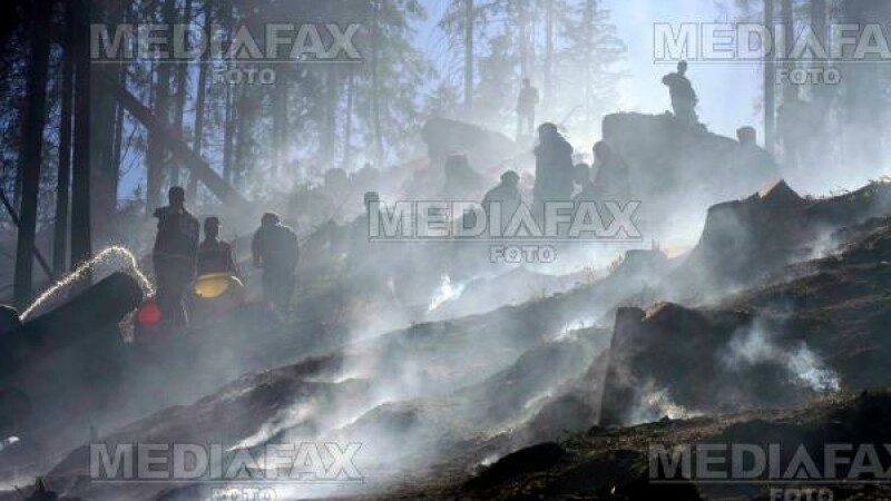Pompierii încearcă să stingă incendiul