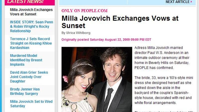 Milla Jovovich s-a casatorit cu regizorul Paul W. S. Anderson!
