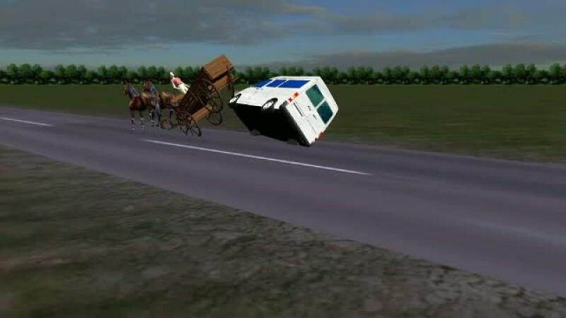animatie grafica accident caruta