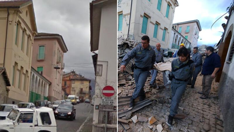 Inainte si dupa. Imagini uluitoare din localitatile grav afectate de cutremurul din Italia