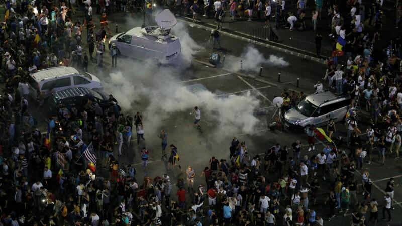 Protest violent in Piata Victoriei