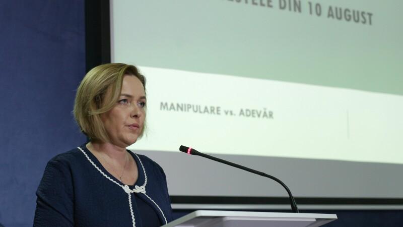 Carmen Dan: Sute de persoane violente identificate în rândul civililor; 5 în rândul jandarmilor