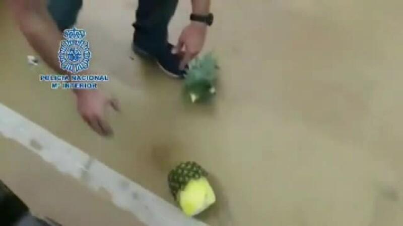 Descoperire uluitoare a poliţiei spaniole. Ce era ascuns în ananas