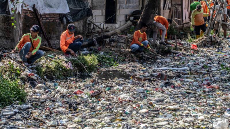 Un râu de gunoaie. Apa nu se mai vede deloc din cauza deșeurilor. - 1