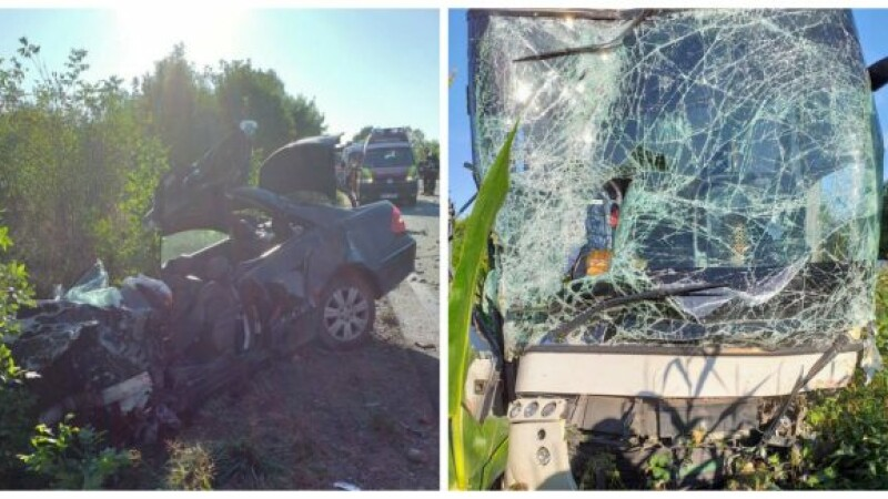 Mercedes făcut praf în urma impactului cu un autocar, în Bihor