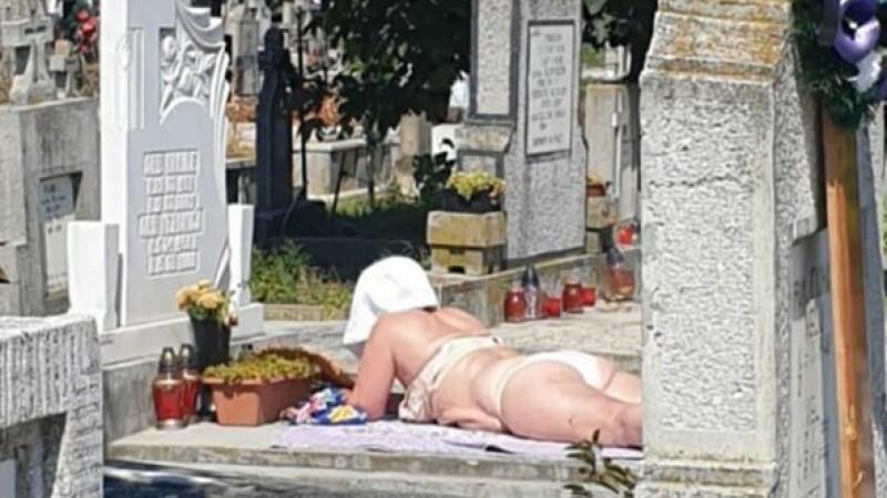 La plajă pe mormânt, într-un cimitir din Alba Iulia
