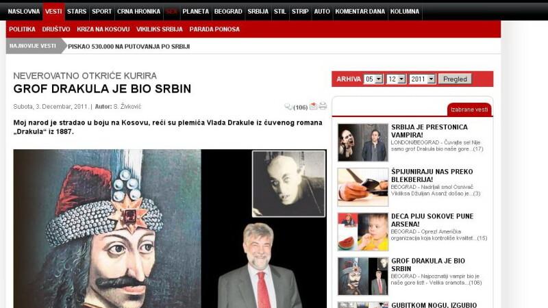 Dracula in ziarul sarb Kurir