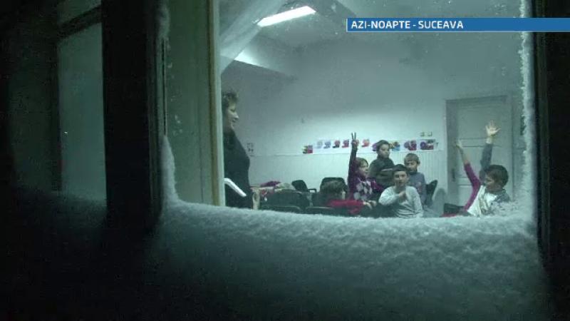 zapada, copii care au ramas sa doarma in scoala
