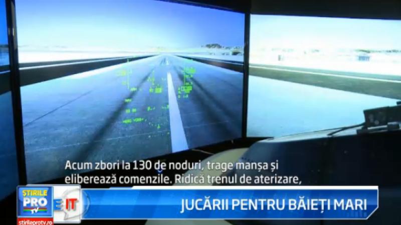 Jucaria de cateva milioane de dolari ce imita un zbor cu celebrul F-16. Care sunt cele mai tari simulatoare din Romania
