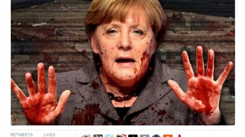 Liderul extremei drepte din Olanda a postat o imagine in care Merkel are mainile pline de sange, dupa atentatul din Berlin