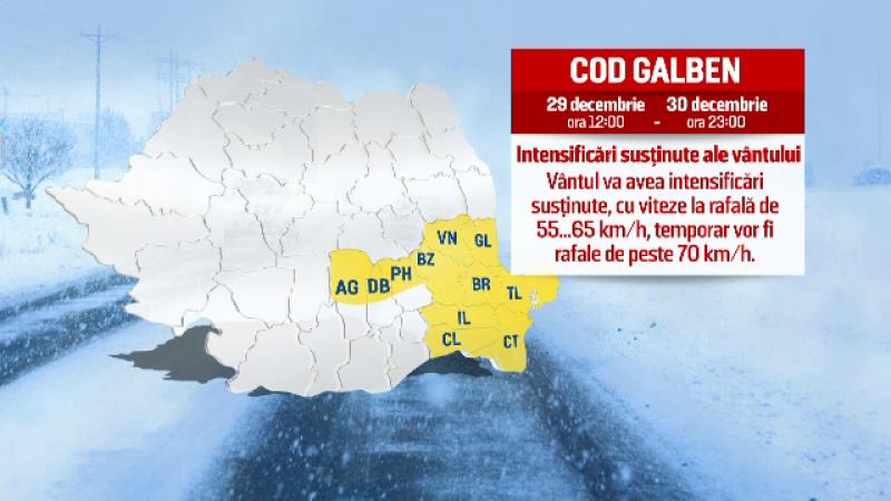 Cod galben de ninsori si vant in sud-estul tarii si Revelion cu zapada la mare. Prognoza meteo pentru ultimele zile din an