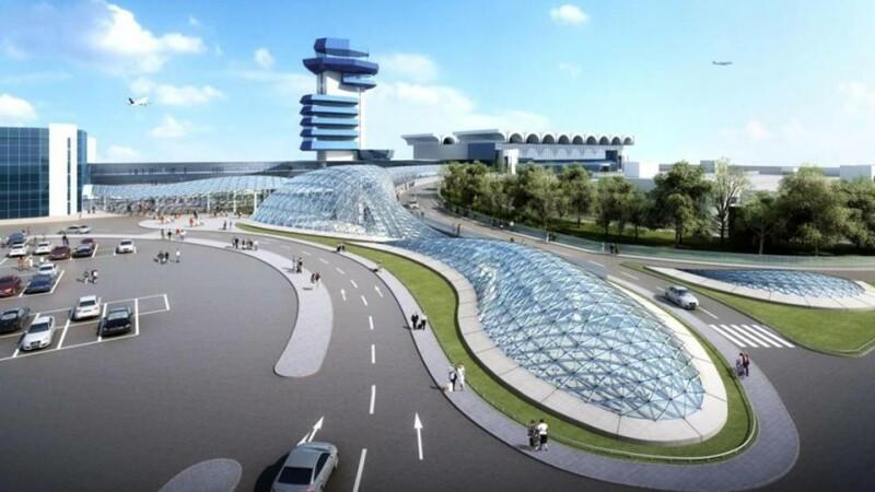 Simulare 3D cu stația de la Aeroportul Henri Coandă. Stația va fi iluminată natural și are un design special.