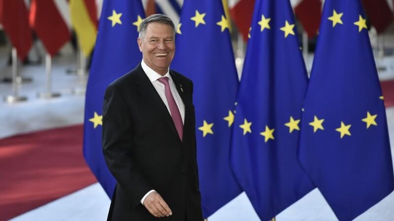 Presedintele Klaus Iohannis inainte de a participa la reuniunea extraordinara a Consiliului European