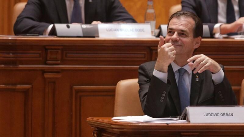 Ludovic Orban la sedinta comuna a Camerei Deputatilor si a Senatului pentru votul de investire a guvernului