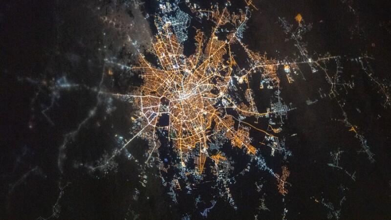 Bucureștiul, văzut din spațiu. Imagina publicată de NASA