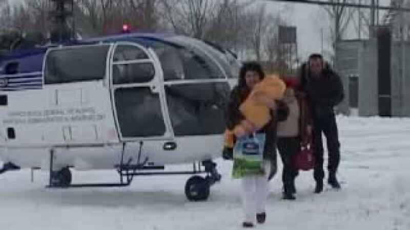 bebelus, viscol, elicopter