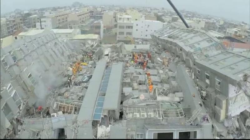 Bilantul cutremurului din Taiwan a crescut la 14 morti si 480 de raniti. Imaginile dezastrului filmate din drona