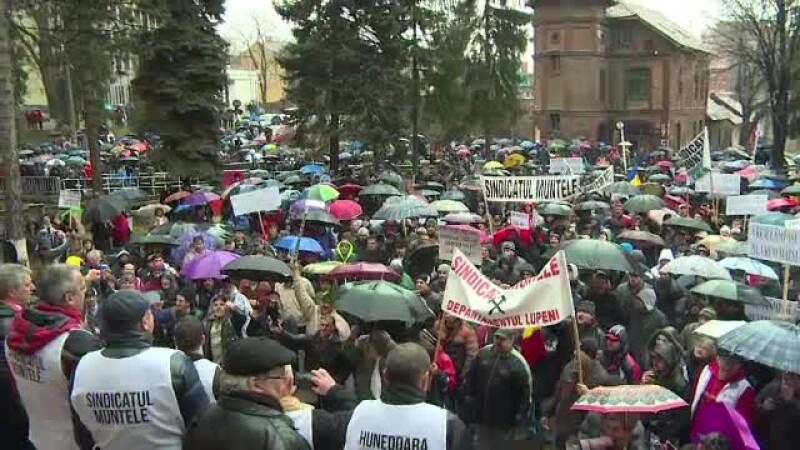 protest, mineri