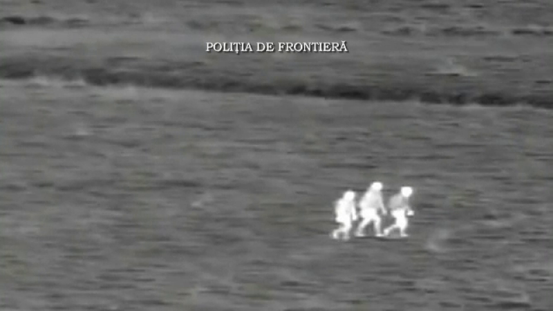 Momentul in care 6 migranti au incercat sa intre ilegal in Romania, surprins de camerele de termoviziune