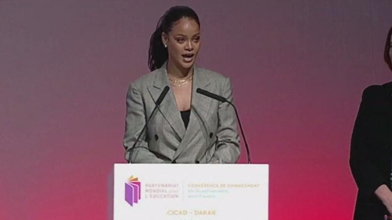 Rihanna și Emmanuel Macron, conferință comună privind educația în țările subdezvoltate